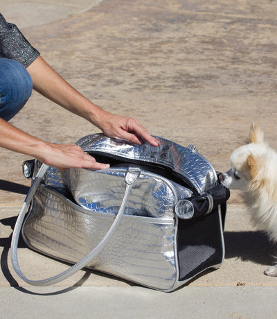 Silver Dog Carrier Bag with Chihuahua