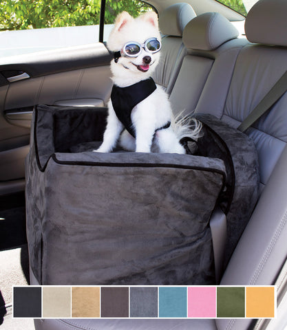 Anthracite Small Dog Car Seat with Pomeranian