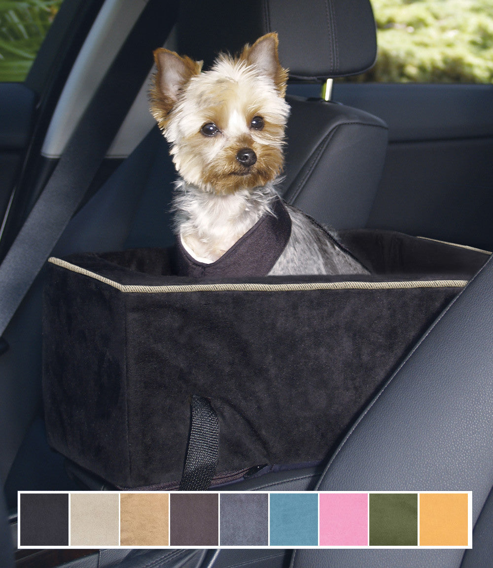 console dog car seat microsuede small auto size g w little. Black Bedroom Furniture Sets. Home Design Ideas