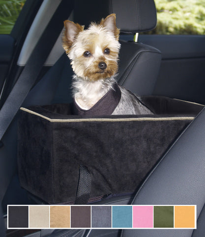 Yorkie in black console dog car seat