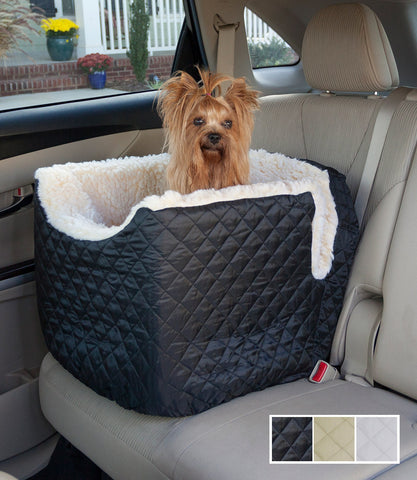 Small Black Quilted Lookout Car Seat with Yorkie