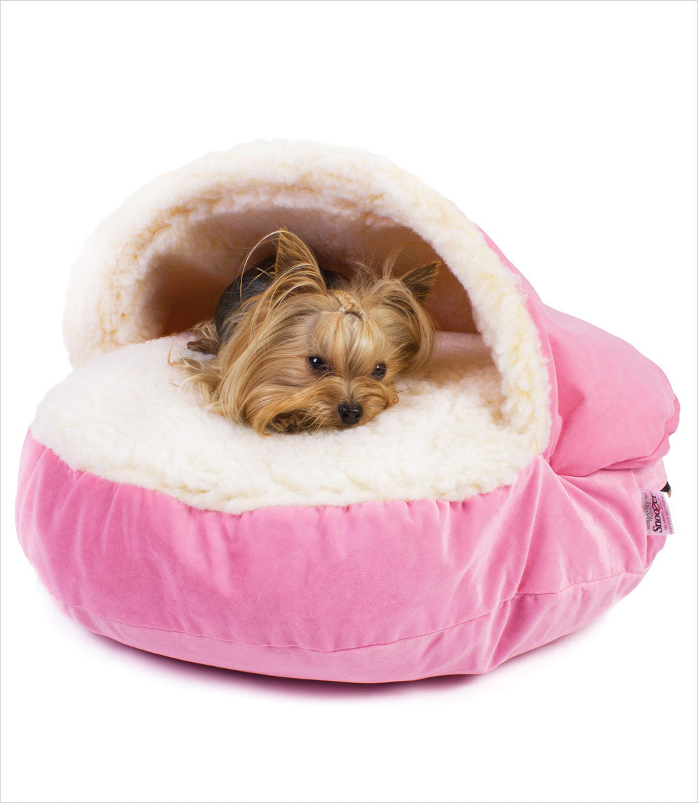 luxury cozy cave dog bed in pink