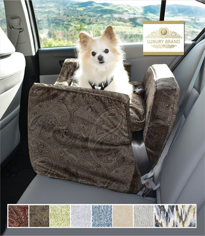Laurel Mocha Small Dog Luxury Car Seat with Chihuahua
