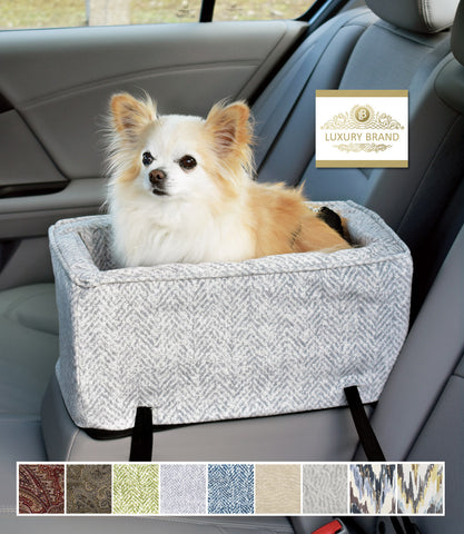 Palmer Dove Small Luxury Microsuede Console Car Seat in Car