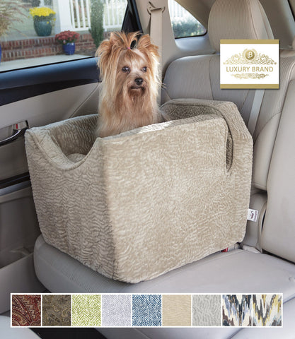 Luxury Dog Car Seat in Piston Sand with Yorkie