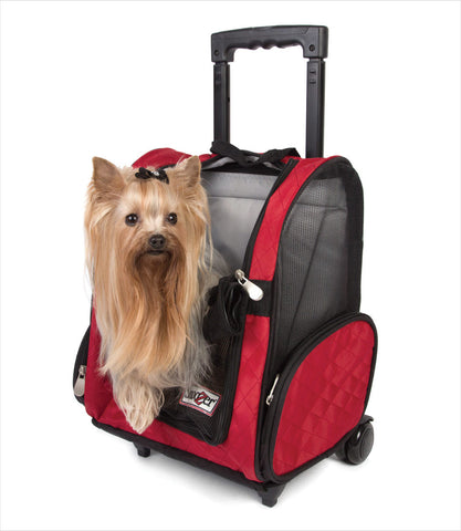 Red Wheel Around Dog Travel Carrier