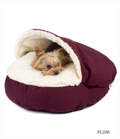 Cosy Cave Dog Bed in Plum