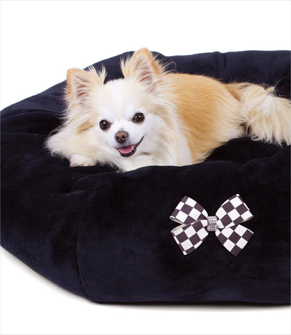 Black Spa Dog Bed with Windsor Bow
