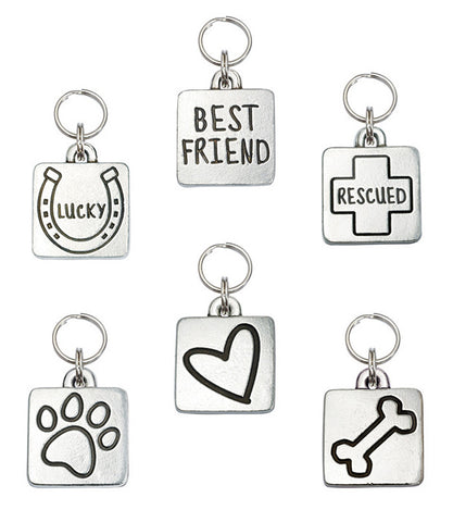 Square dog ID tags in 100% pewter