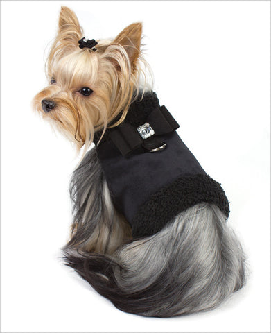 Susan Lanci Big Bow dog harness with Yorkie
