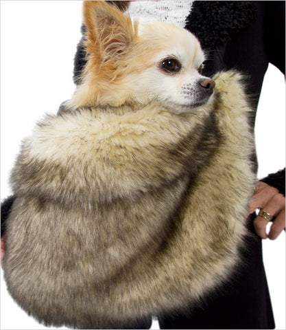 Susan Lanci Faux Fox Fur Cuddle Dog Carrier