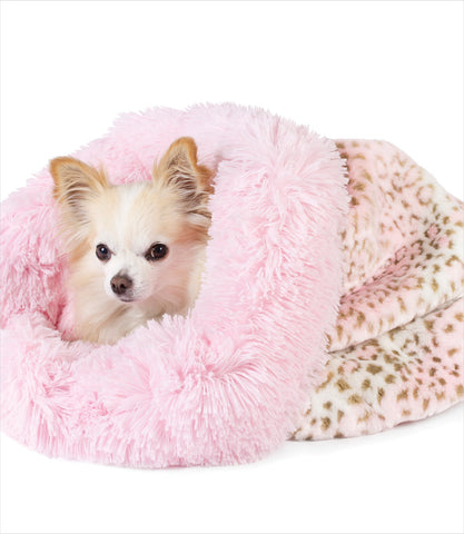 Pink Leopard Powder Puff Cuddle Cup