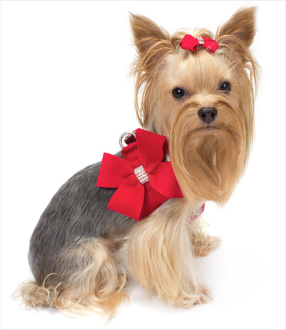 Step In Dog Harness - Nouveau Bow Red Yorkie