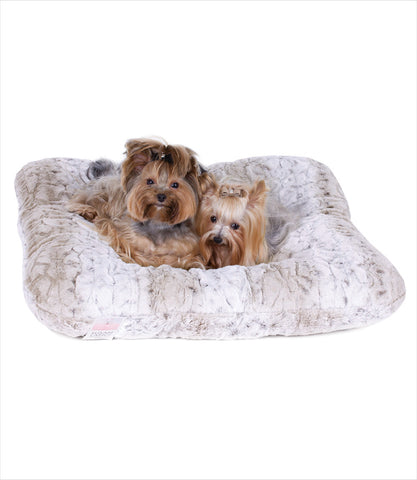 Snow Leopard Square Dog Bed by Susan Lanci