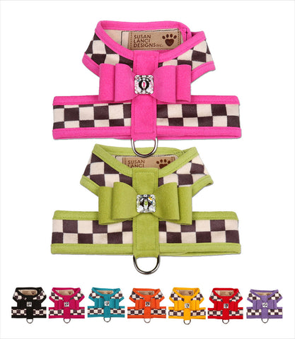 Windsor Check w Trim Big Bow Tinkie Dog Harness by Susan Lanci