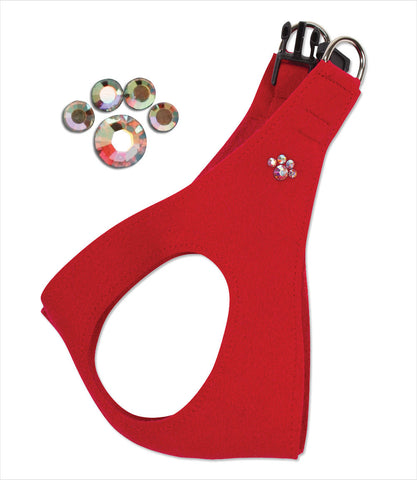 Red Crystal Paw Step In Harness - Susan Lanci