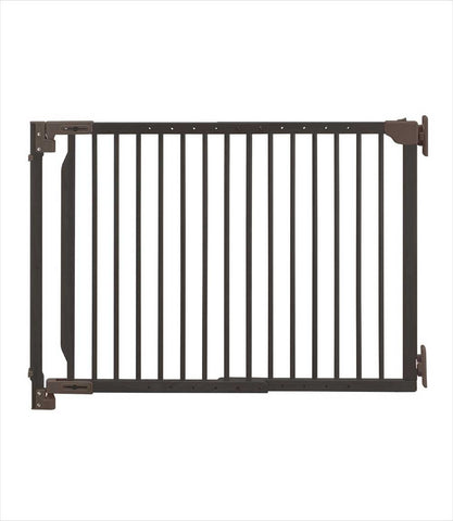 expandable walk-through pet gate brown