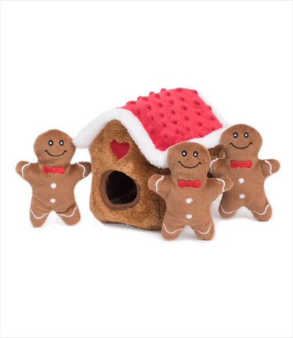 Gingerbread House Zippy Burrow Interactive Dog Toy
