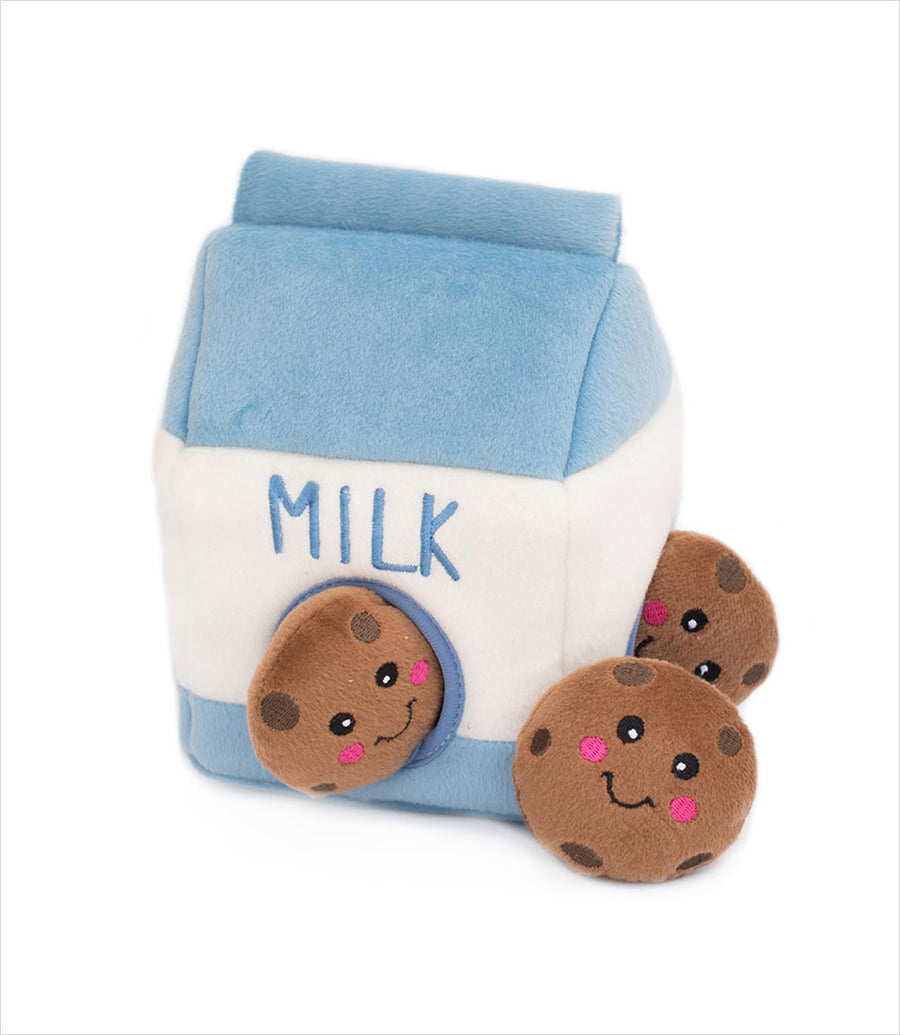 Milk and Cookies Zippy Burrow Dog Toy