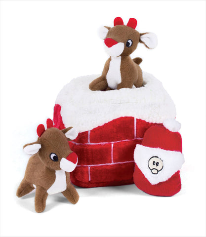 Chimney Zippy Burrow with Santa and Reindeer Interactive Dog Toy