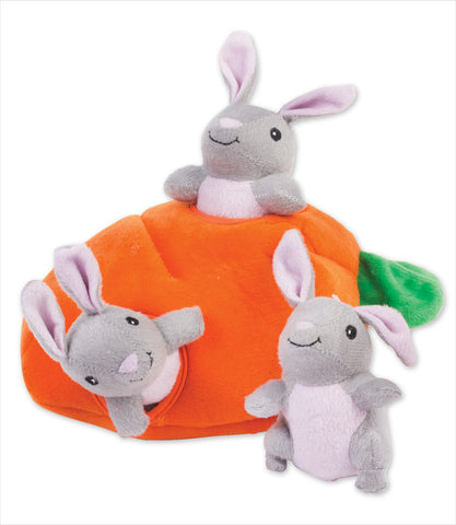 Zippy Burrow - bunny and carrot dog toy