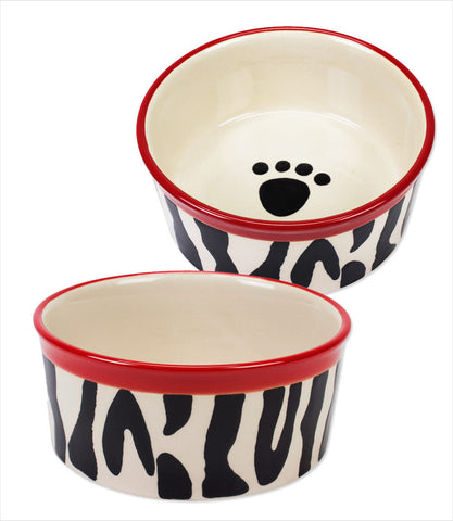 Zebra Buzz Dog Bowl
