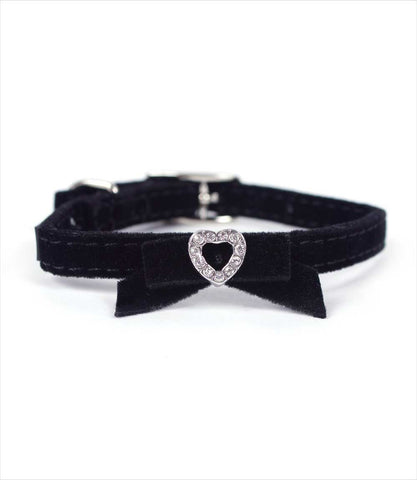 Li'l Pals Suede Jeweled Dog Collar - Black