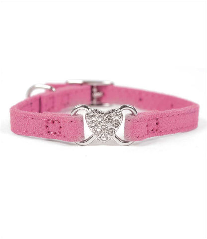 Silver studded heart dog collar