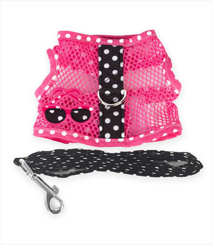 Pink Mesh Harness with Black Leash