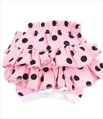 sanitary pant for dog in pink with black polka dot