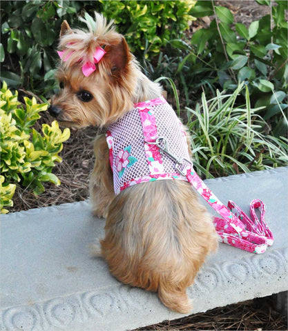 Yorkie in Pink Hibiscus Cool Mesh Harness with Matching Leash
