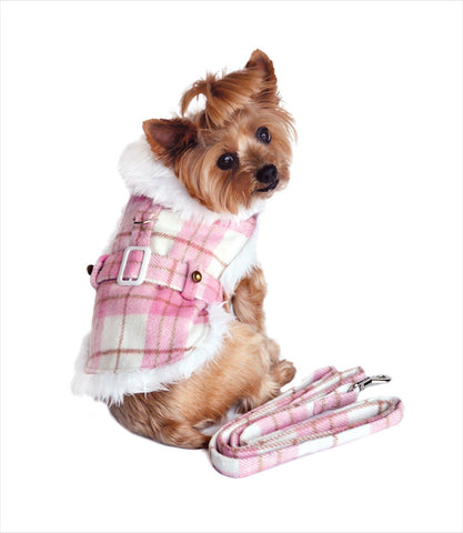 Pink Plaid Dog Harness Coat