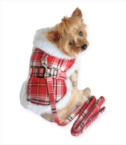 Red Plaid Dog Harness Coat