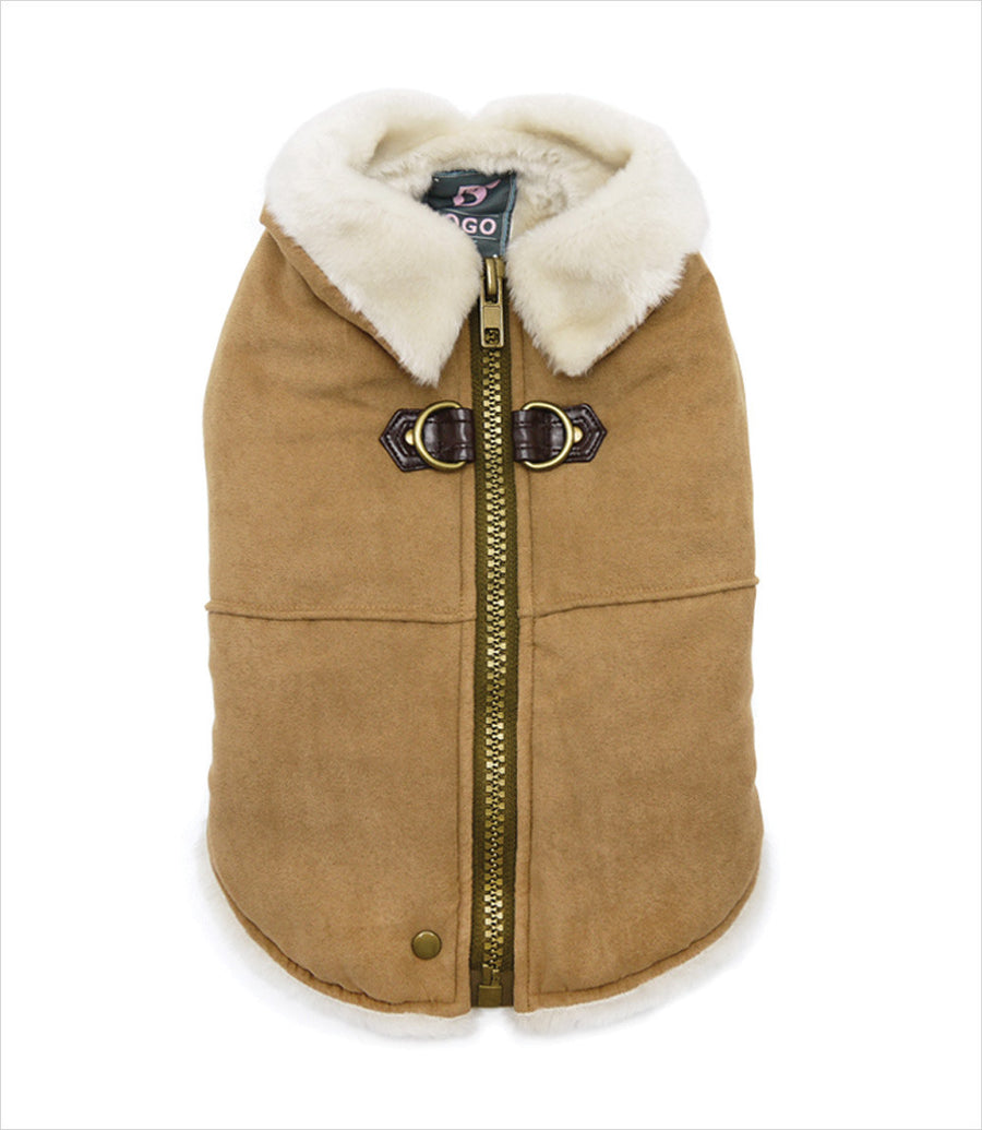 Beige Furry Runner Coat for Small Dogs
