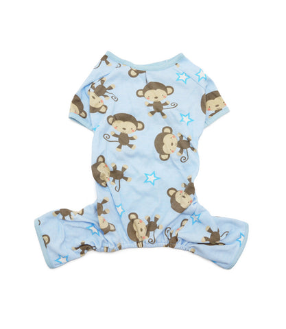 Yorkie in blue monkey pajamas