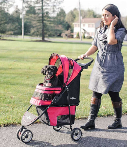 Regal pet stroller - Raspberry Sorbet with dog