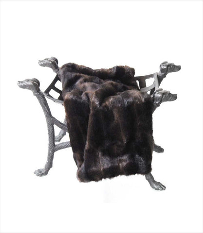 Faux Fur Blanket in Chocolate Wolf