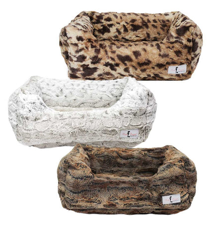 Luxe Collection Small Dog Beds in animal prints