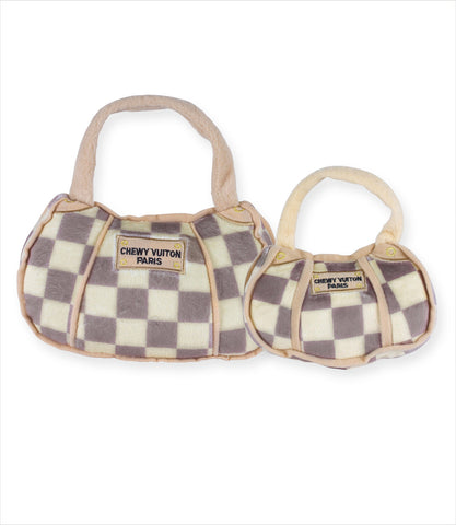Checkered Chewy Vuiton Bag Dog Toys