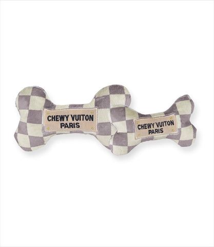 Checkered Chewy Vuiton Bone Dog Toys