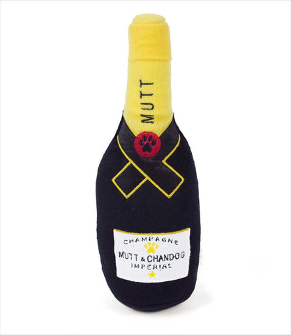 Mutt & Chandog Champagne parody dog toy