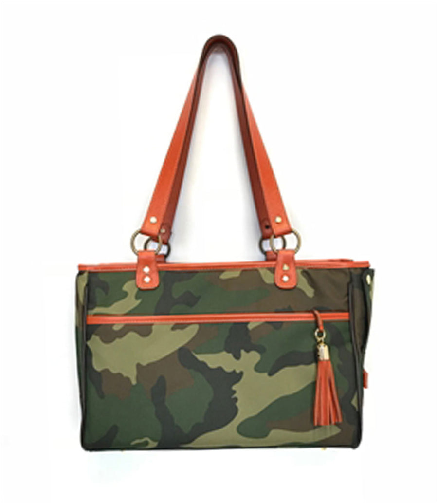 Camo Tote with Orange Leather Trim Dog Carrier