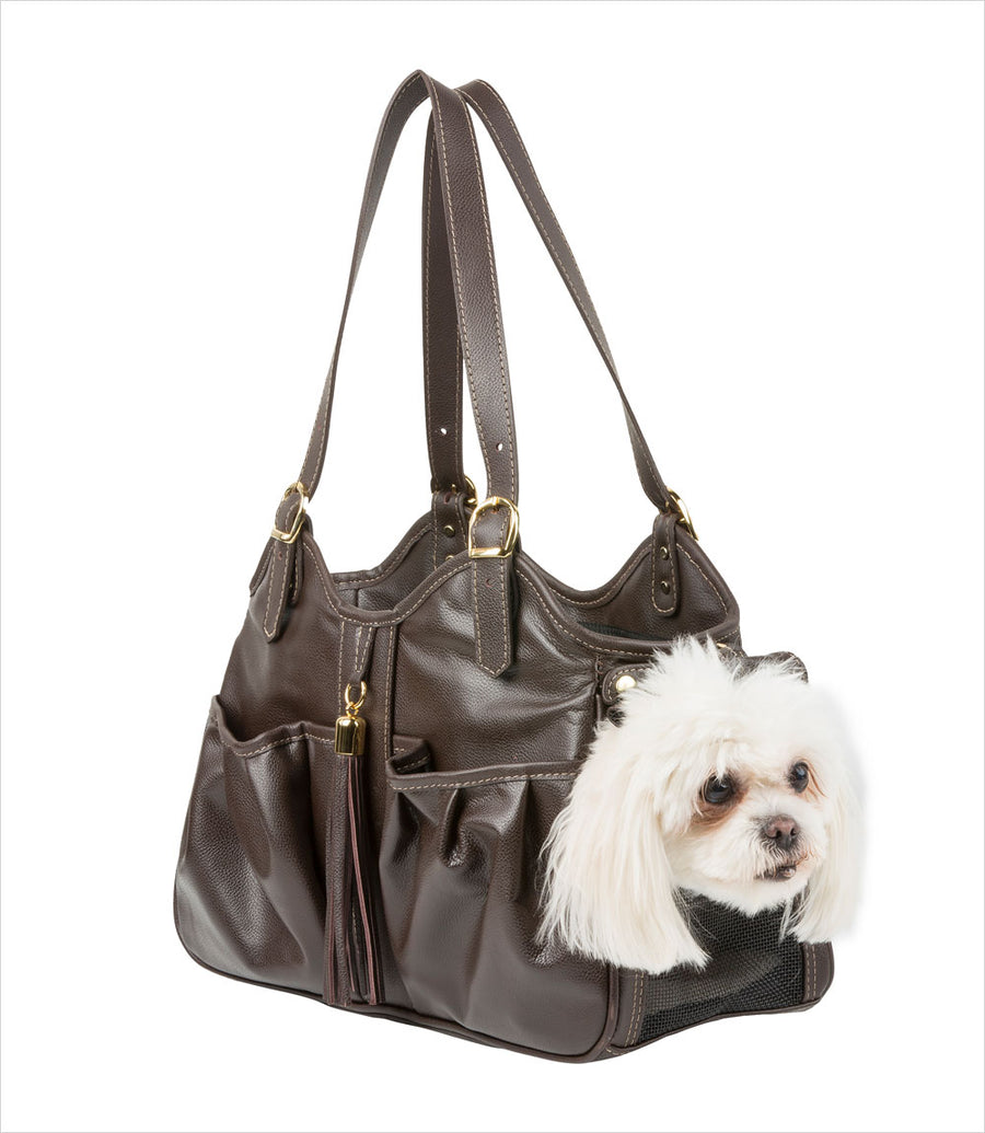 Metro Collection Dog Carrier - Chocolate Brown with Tassel