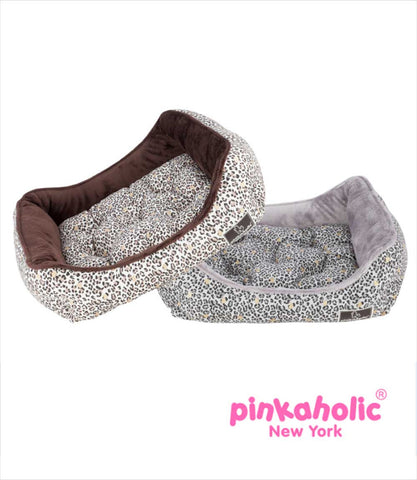 Pinkaholic Grey and Brown Leopard Small Dog Beds