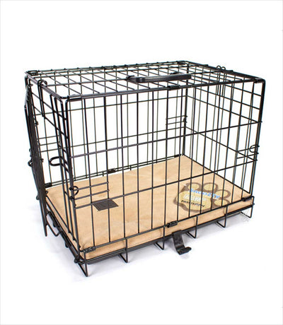 dog crate with Snoozzy tan pad