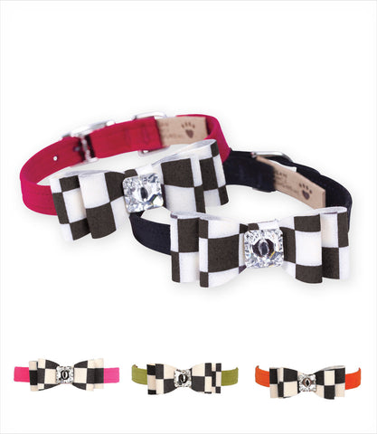 Susan Lanci Windsor Check Big Bow Dog Collars