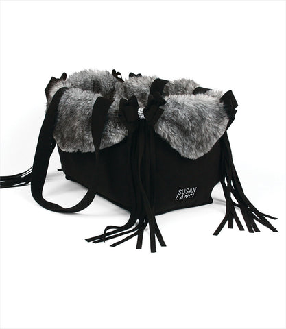 Luxury Nouveau Bow Dog Carrier with Fringe in Black with Grey Fur