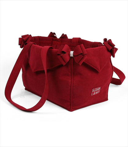 Luxury Nouveau Bow Dog Carrier  in Burgundy