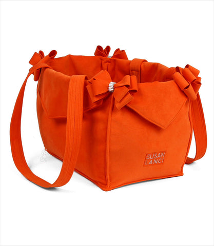 Luxury Dog Carrier by Susan Lanci - Nouveau Bow in Orange