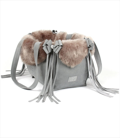 Platinum Luxury Dog Carrier with Silvre Faux Fox Fur